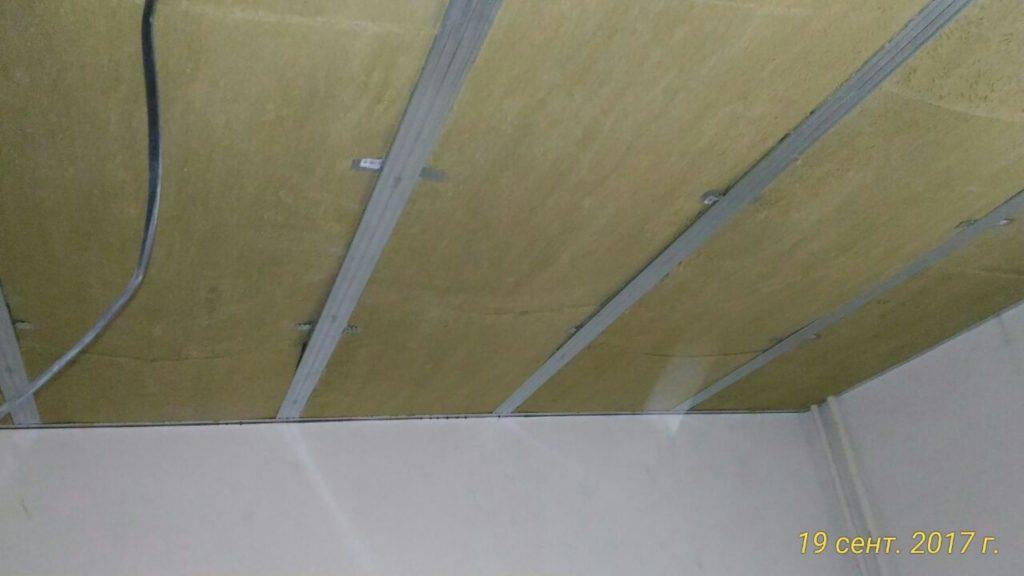 звукоизоляция потолка, монтаж акустической ваты
